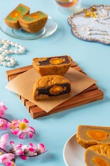 Un mooncake è un prodotto da forno cinese tradizionalmente consumato durante il mid-autumn festival.