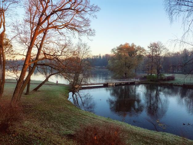 Paesaggio autunnale mattutino con un lago e i primi raggi del sole. parco del palazzo. gatchina. russia.