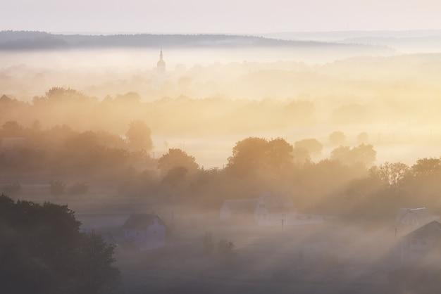 Paesaggio mattutino con nebbia sul fiume