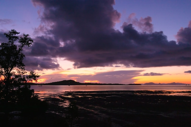 Mare di bassa marea di mattina con il cielo scuro dell'alba.