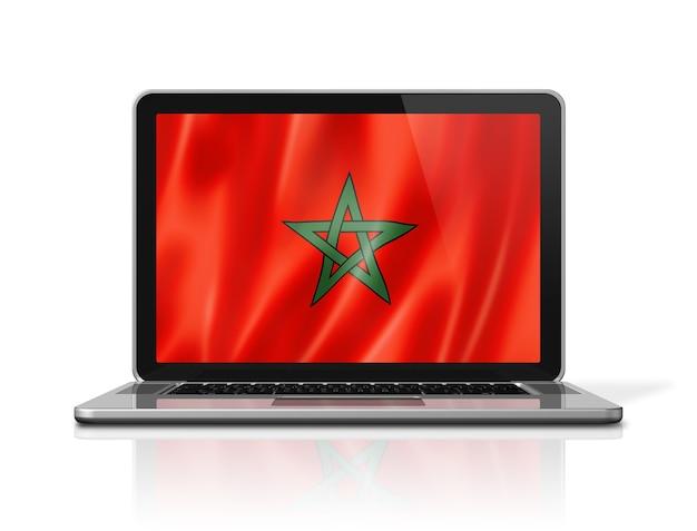 Bandiera del marocco sullo schermo del computer portatile isolato su bianco. rendering di illustrazione 3d.