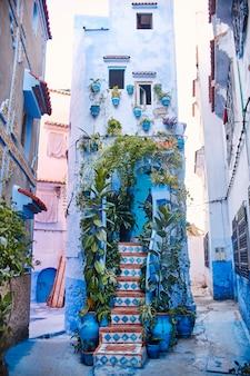 Il marocco è la città blu di chefchaouen, strade infinite