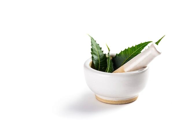Mortaio e pestello con foglie di neem medicinali su bianco