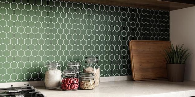 Alzatina in mosaico in cucina