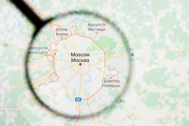 Concetto illustrativo di visualizzazione della città di mosca, russia sullo schermo di visualizzazione tramite la lente d'ingrandimento