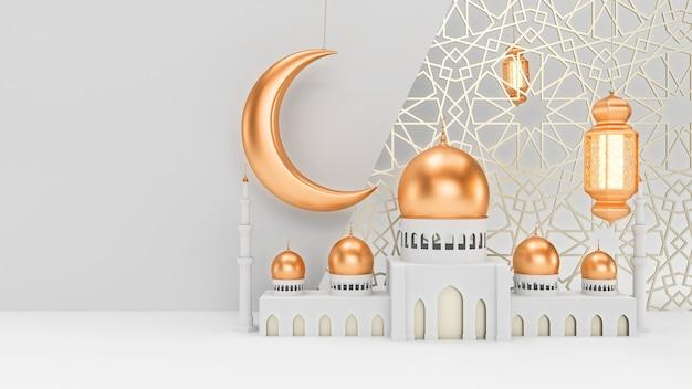 Le lanterne della moschea e della candela con la luna sono appese su uno sfondo bianco pulito con ornamenti islamici