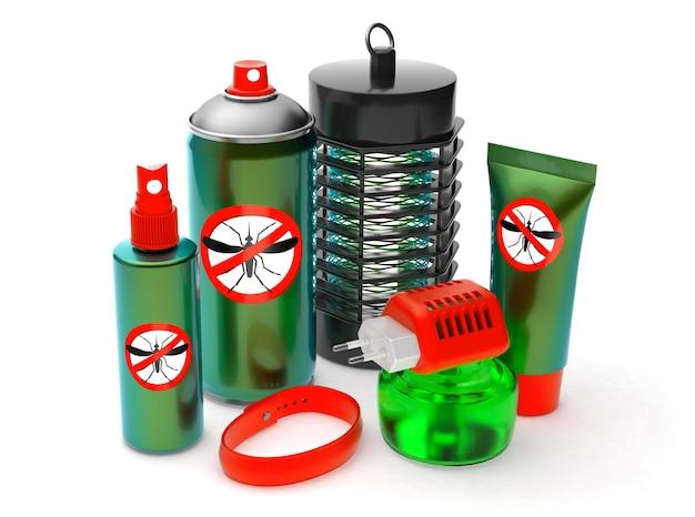 Repellente per zanzare. protezione dagli insetti. spray, crema, trappola elettronica, braccialetto, liquido. isolato su sfondo bianco. rendering 3d.