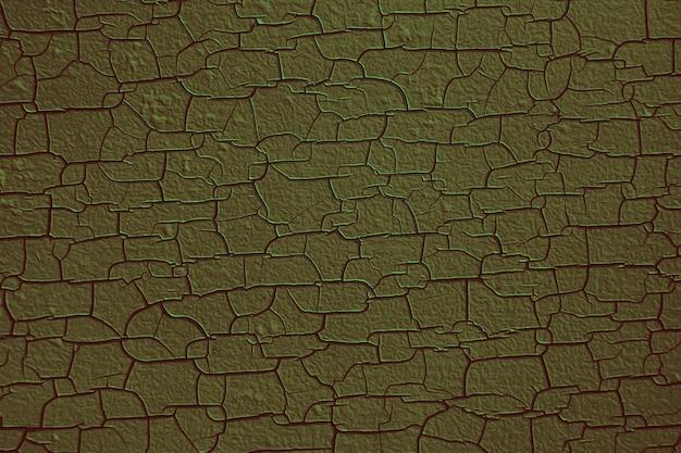 La superficie della struttura in legno di muschio è nera bagliore verde screpolata e rigonfia, dalla temperatura del calore della luce solare che splende a lungo