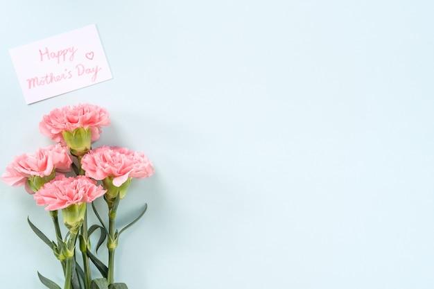 Sfondo per la festa della mamma, mazzo di garofani - bellissimo bouquet di fiori rosa pallido isolato su tavolo blu pastello, vista dall'alto, piatto, copia spazio design.