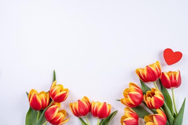 Festa della mamma, sfondo di san valentino, mazzo di fiori di tulipano - bellissimo bouquet rosso e giallo isolato su tavolo bianco, vista dall'alto, piatto, mock up concetto di design.