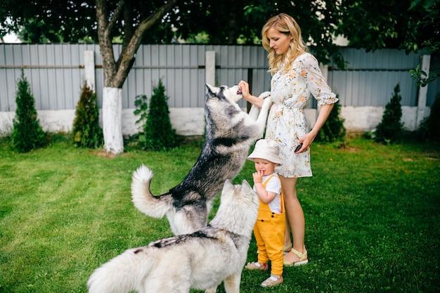 Madre e figlio che giocano con due cani in giardino