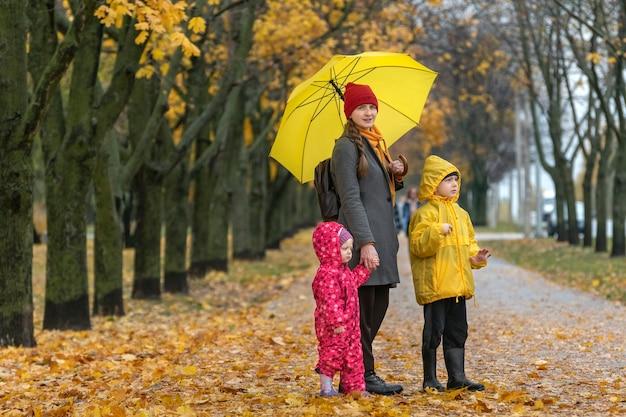 La madre con due bambini sta camminando nel parco sotto la pioggia. parco d'autunno, foglie cadute. famiglia felice