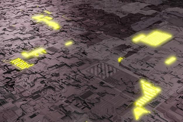 Il chip di sistema della scheda madre ha elementi neonglow un circuito futuristico serve