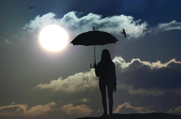 Sfocatura di movimento che salta ragazza ombrello con silhouette al tramonto