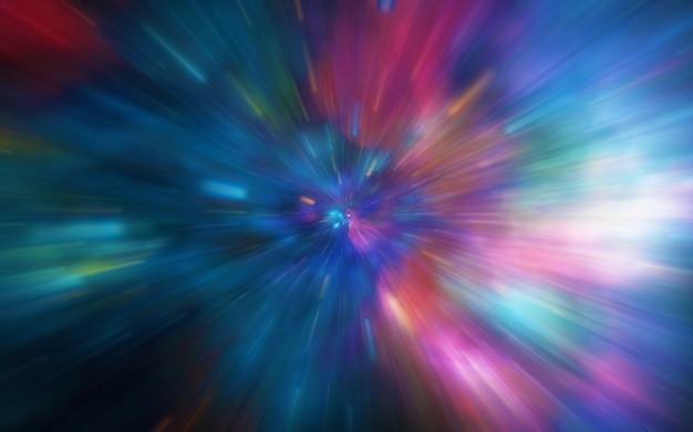 Sfocatura di movimento attraverso l'universo, muovendosi alla velocità della galassia del tunnel di luce, sfondo di colore astratto iper-salto