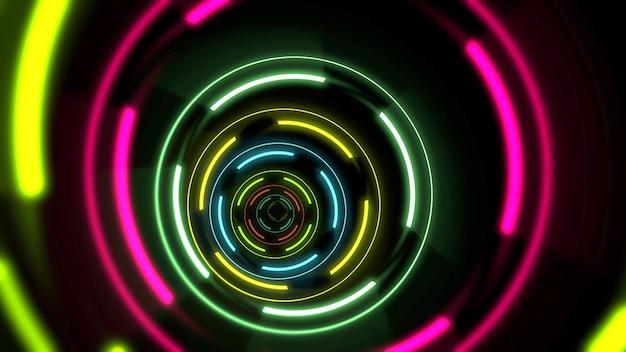 Cerchi al neon colorati di movimento, sfondo astratto. illustrazione 3d in stile club dinamico elegante e di lusso