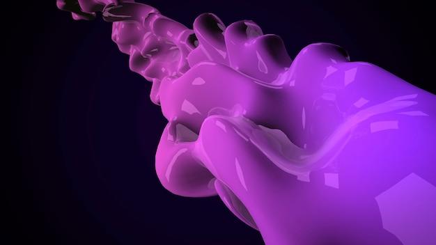 Forme futuristiche liquide viola scuro di movimento, fondo geometrico astratto