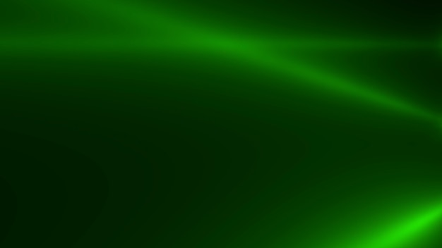 Movimento incandescente verde fasci di riflettori su sfondo scuro in fase. stile di illustrazione 3d elegante e lussuoso per il modello di club e intrattenimento
