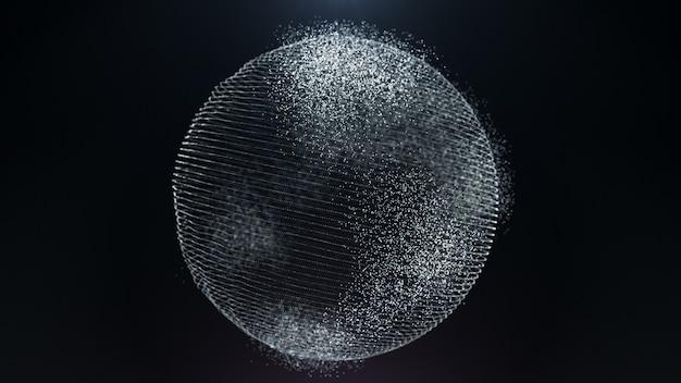 Mappa del mondo di concetto di affari digitali di terra di particelle di movimento