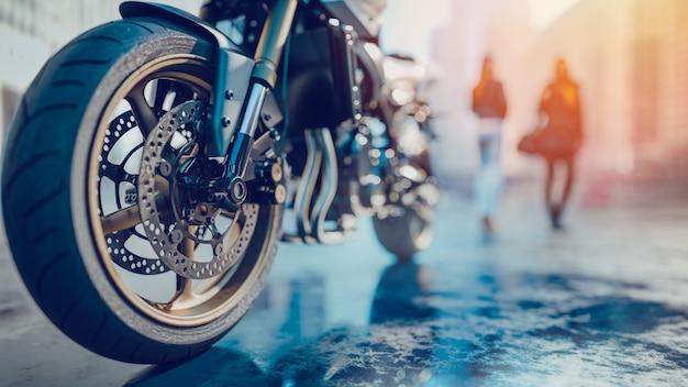 Ruote del motociclo c'è una donna di nuovo in città. 3d redering e illustrazione.