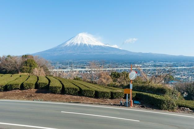 Il monte fuji con la neve e la piantagione di tè verde nella città di yamamoto fujinomiya shizuoka ken japan