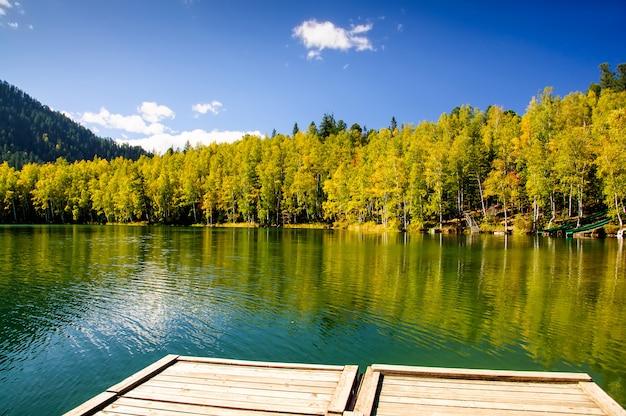 Lago siberia verde di autunno della montagna con la riflessione, il pilastro di legno e la betulla