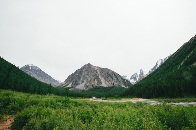 Insenatura di montagna nella valle contro montagne giganti e cime innevate. flusso di acqua nel ruscello contro il ghiacciaio.