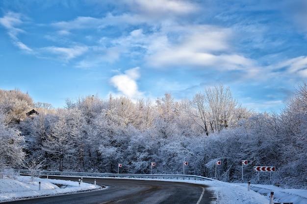 Paesaggio di strada forestale di montagna neve inverno freddo