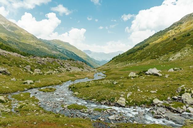 Paesaggio di montagna. paesaggio con montagne, foreste e fiume di fronte. bel paesaggio