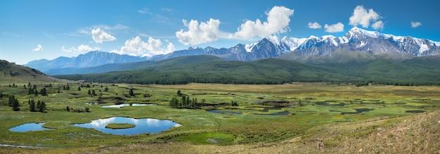 Paesaggio di montagna, vista panoramica, verde estivo, giornata di sole