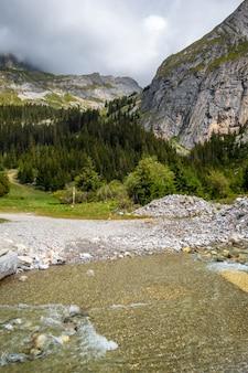 Fiume di montagna nella valle alpina del parco nazionale della vanoise, savoie, alpi francesi