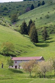Panorama montano primaverile, verdi colline e fabbricato rurale