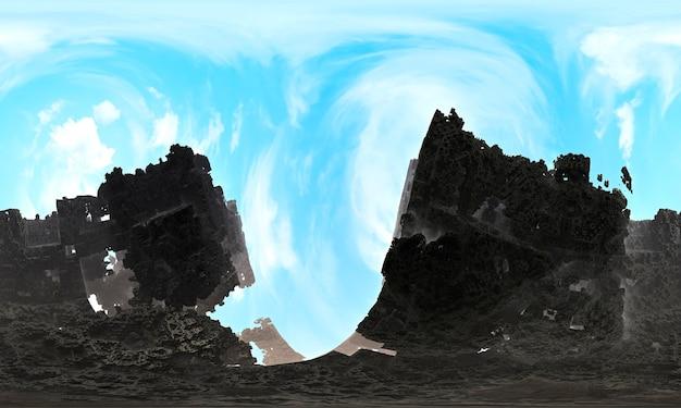 Montagne sullo sfondo delle nuvole. montagna di paesaggio artificiale topografico di dispersione frattale frattale. l'immagine include un effetto in bianco e nero. rendering 3d.