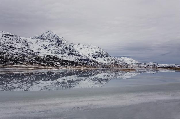 Montagne e il loro riflesso in un lago ghiacciato
