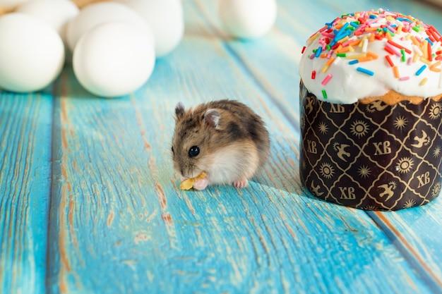 Il topo mangia una torta di pasqua su un tavolo di legno turchese. una delizia tradizionale per le vacanze