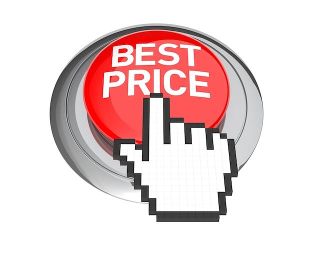 Cursore della mano del mouse sul pulsante miglior prezzo. illustrazione 3d.