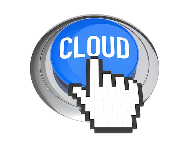 Cursore della mano del mouse sul pulsante blue cloud computing. illustrazione 3d.