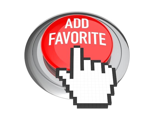 Cursore della mano del mouse sul pulsante rosso aggiungi ai preferiti. illustrazione 3d.