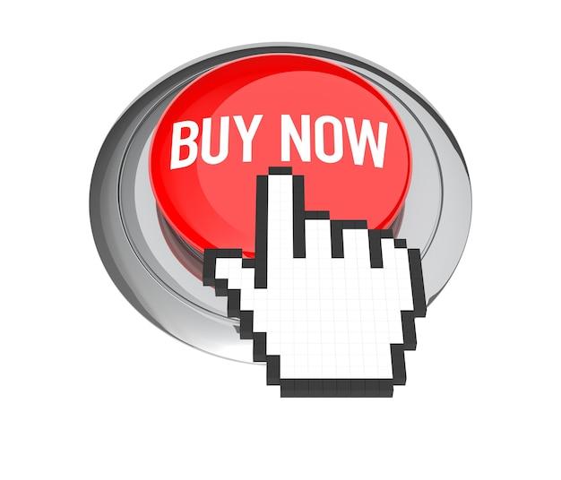 Cursore della mano del mouse sul pulsante rosso acquista ora. illustrazione 3d.