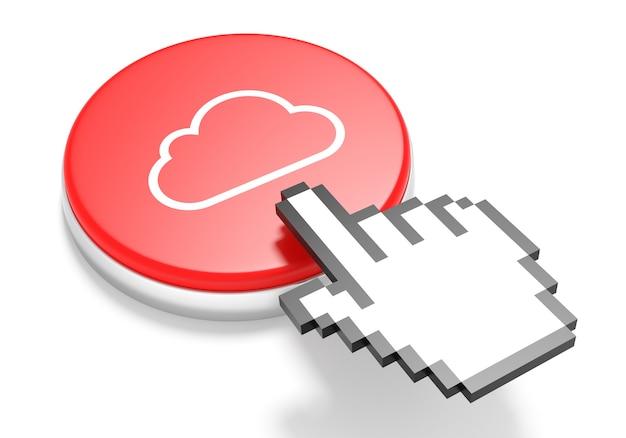 Cursore della mano del mouse sul pulsante red cloud computing. illustrazione 3d.