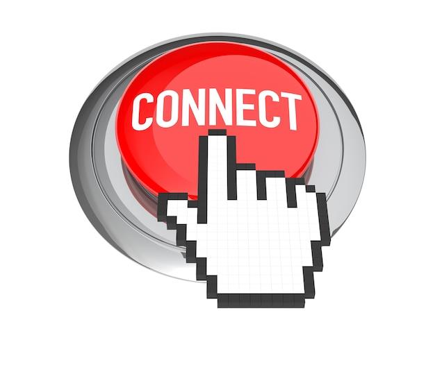 Cursore della mano del mouse sul pulsante rosso di connessione. illustrazione 3d.