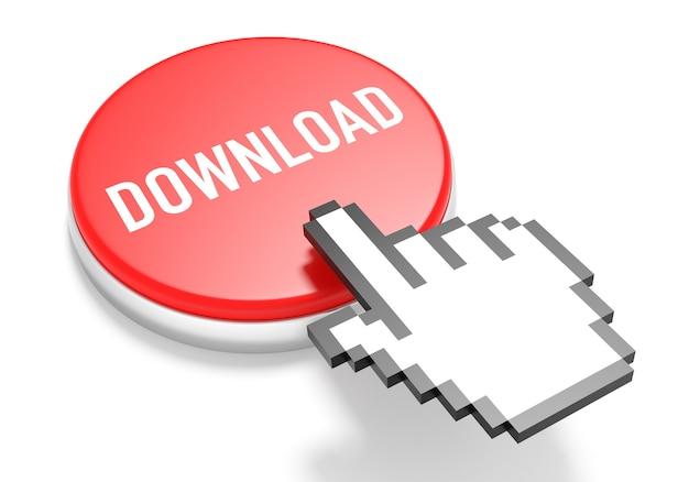Cursore della mano del mouse sul pulsante di download rosso. illustrazione 3d.