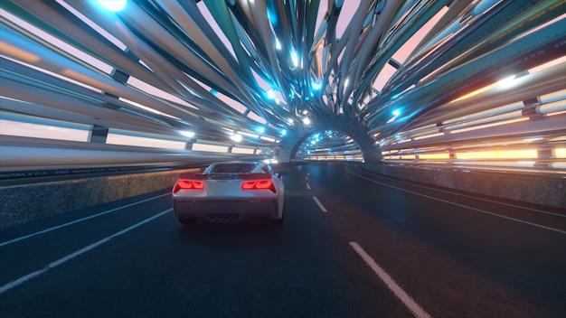 Il movimento dell'auto su un ponte futuristico con fibra ottica