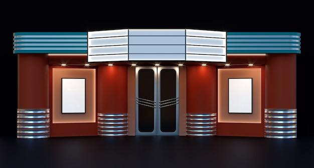 Illustrazione 3d esterna della facciata del cinema del cinema
