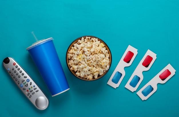Movie time stereoscopico anaglifo carta usa e getta occhiali 3d tv telecomando bicchiere di carta di bevanda e ciotola di popcorn