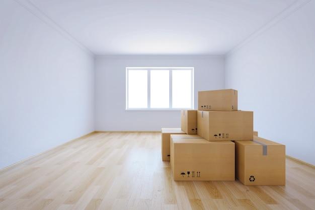 Scatole in movimento in una nuova casa, rendering 3d