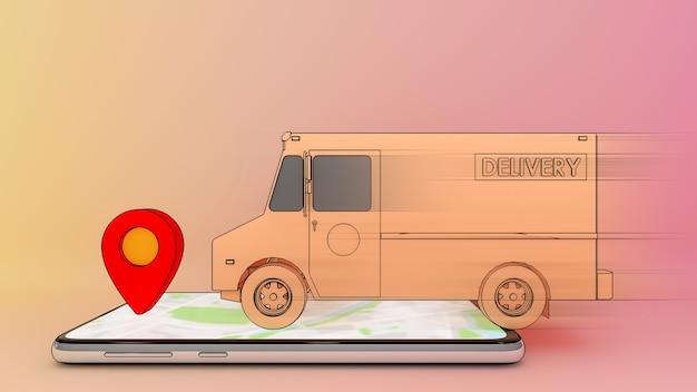 Furgone del camion commovente sul telefono cellulare con il punto rosso.