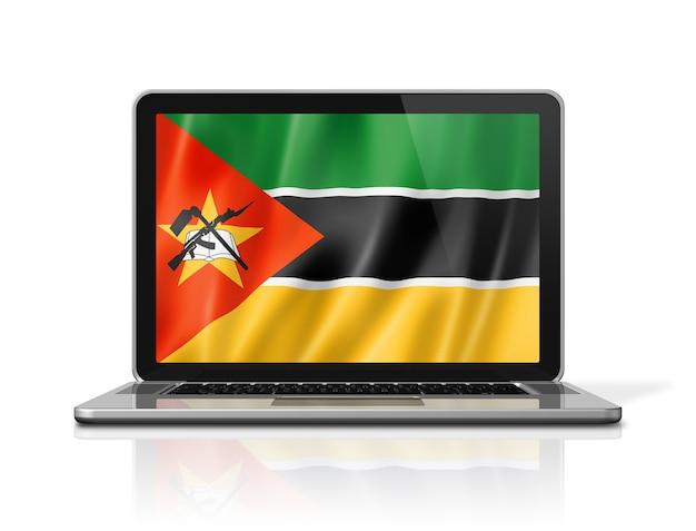 Bandiera del mozambico sullo schermo del laptop isolato su bianco. rendering di illustrazione 3d.