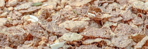 Muesli closeup di muesli cereali per la colazione sparsi sul tavolo cibo sano banner