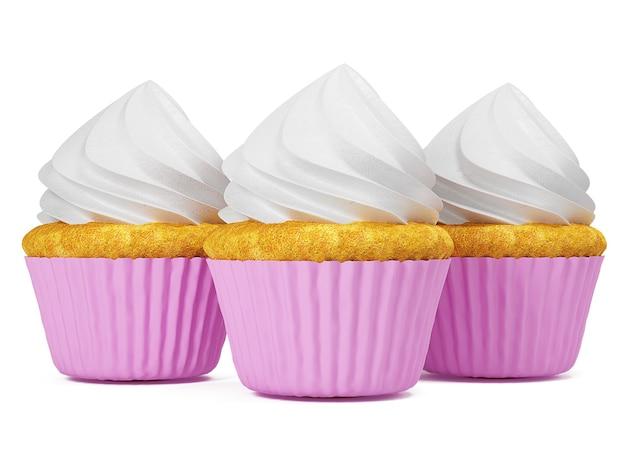 Cupkace multicolore isolato su priorità bassa bianca. illustrazione 3d